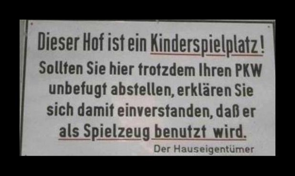 User Bild: Lustiges Warnschild ..